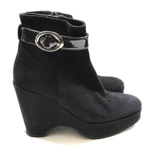 Italian Black Suede Platform Wedge Booties Boots